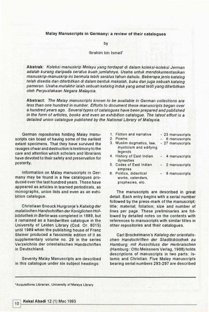 Malay Manuscripts In Germany Kekal Abadi University Of Malaya