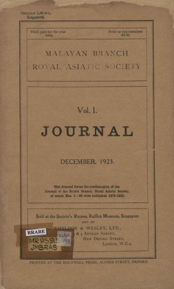 Journal of the Malayan Branch of the Royal Asiatic ... - Sabrizain.org