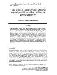 Trade unionism and governance in Nigeria - London Metropolitan ...