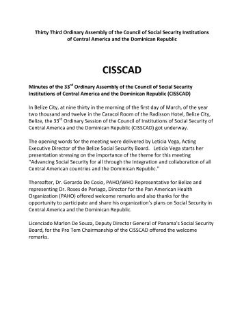 XXXIV Ordinary Meeting of the Council of Social - CISS