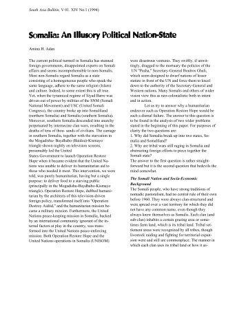 Somalia: Illusory Political National-state - Farshaxan