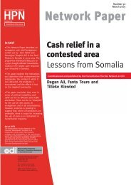 Cash relief in a contested area - Humanitarian Practice Network