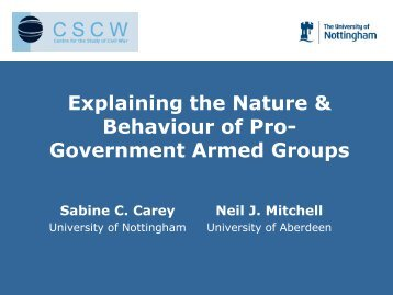 Pro-Government Armed Group - University of Aberdeen