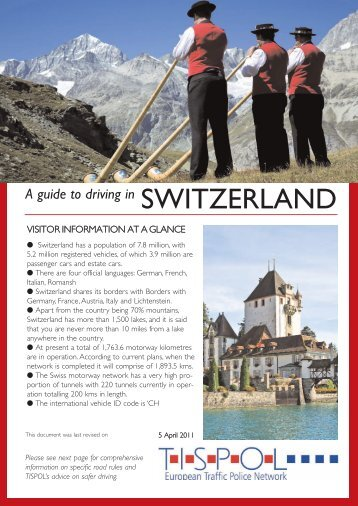 A guide to driving in SWITZERLAND - Tispol