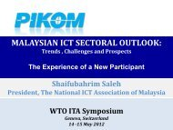MALAYSIAN ICT SECTORAL OUTLOOK: - World Trade Organization