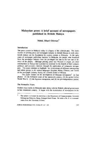 published in British Malaya - Universiti Kebangsaan Malaysia