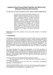 Impacts of the Personal Data Protection Act 2010 on the Malaysian ...