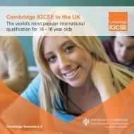 Cambridge IGCSE in the UK - Cambridge International Examinations