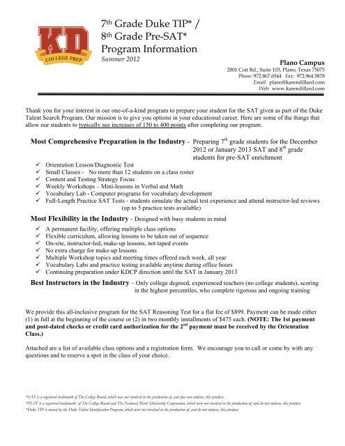 7th Grade Duke TIP* / 8th Grade Pre-SAT     - KD College Prep
