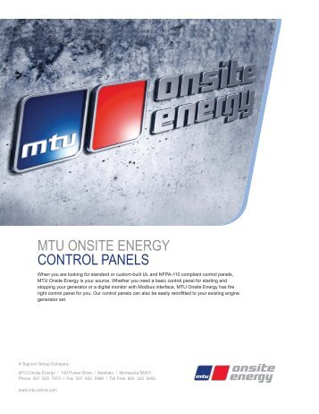 mtu onsite energy control panels - Emergency Systems Service ...