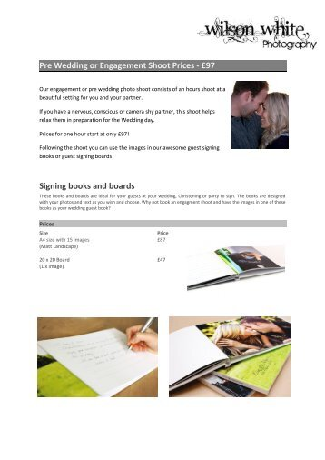 Pre Wedding or Engagement Shoot Prices - Wilson White ...