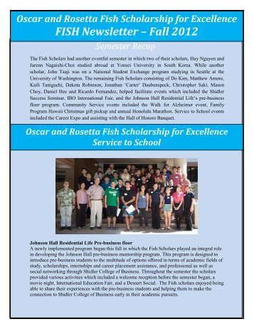FISH Newsletter – Fall 2012 - Shidler College of Business