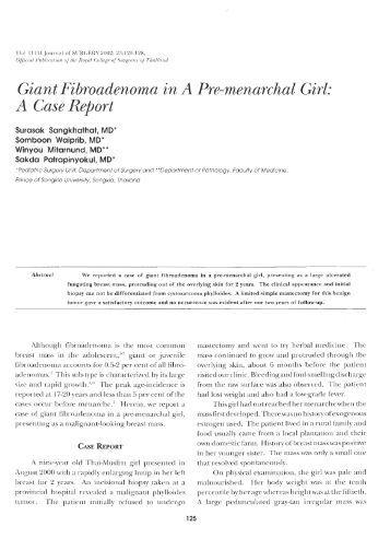 Giant Fibroadenoma in A Pre-menarchal Girl: A Case Report