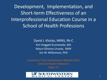 Development, Implementation, and Short-termEffectiveness of an ...