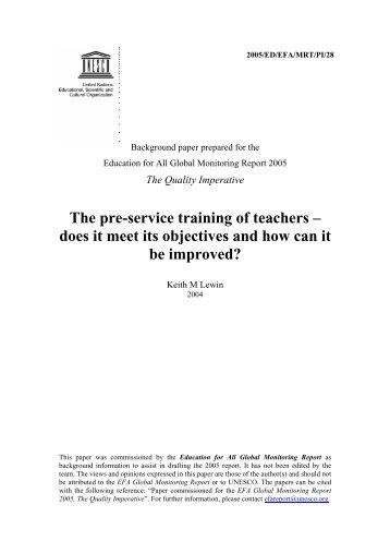 The Pre-service training of teachers: does it ... - unesdoc - Unesco