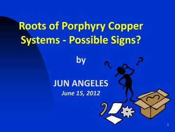 Roots of Porphyry Copper Systems - Possible Signs?