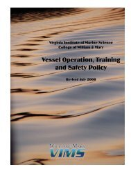 Vessel Operation, Training and Safety Policy - Virginia Institute of ...