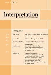 Spring 2007 - Interpretation: A Journal of Political Philosophy