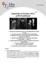 September & October 2012 at BFI Southbank - British Film Institute