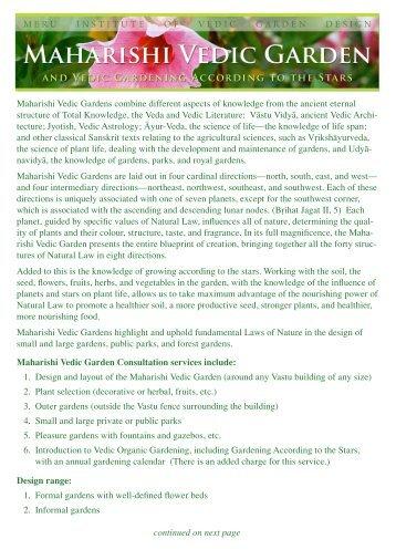 Maharishi Vedic Gardens combine different aspects of knowledge ...