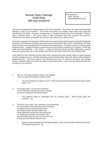 Kubla Khan Essays (Examples)