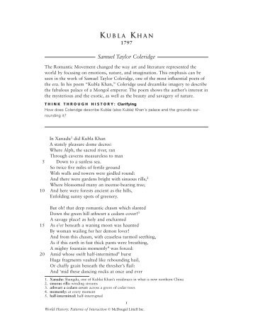 what would happen if horace reads coleridges kubla khan Home study guides coleridge's poems the nightingale (1798) summary and analysis coleridge's poems by samuel coleridge buy study guide coleridge's poems summary.