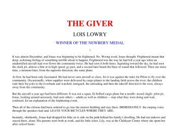 The giver homework help