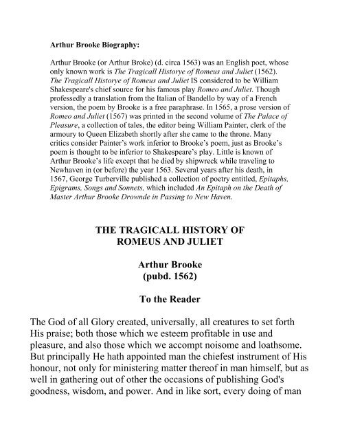 THE TRAGICALL HISTORY OF ROMEUS AND JULIET Arthur