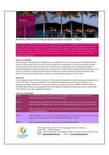 Romantic Malaysia (Penang & Kuala Lumpur) 4 ... - Saima Travels