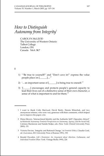 Distinguish Autonomy from Integrity - Canadian Journal of Philosophy
