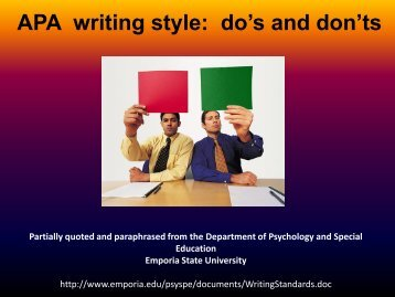 APA writing style: do's and don'ts
