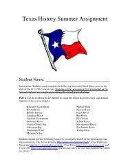 Texas History Summer Assignment - Pin Oak Middle School