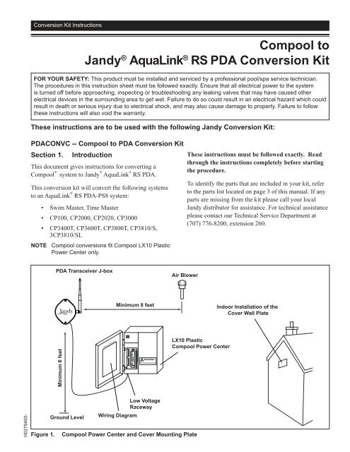 aqualink wiring diagram compool to jandy   aqualink   rs pda inyopools com  compool to jandy   aqualink   rs pda