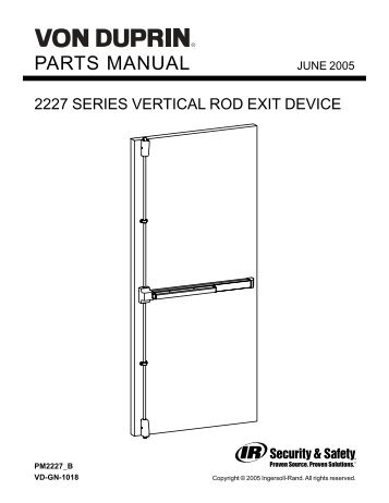 2227 series vertical rod exit device - Von Duprin