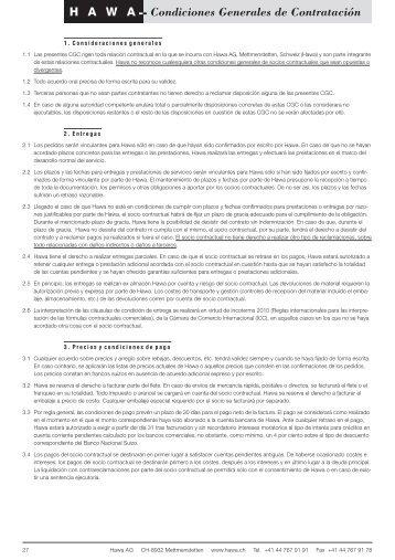 Condiciones Generales de Contratación - hawa.ch