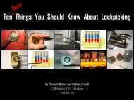 Ten Things You Should Know About Lockpicking ^ - Proidea