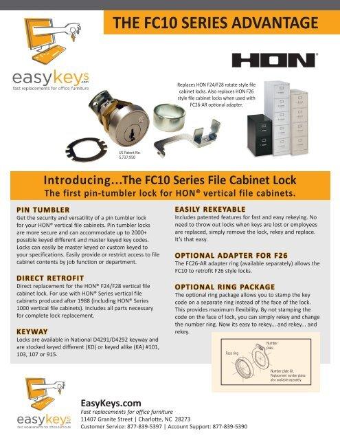 4 Hon F24 /& F28 Vertical File cabinet Locks Lock,Key Keys Keyed Alike