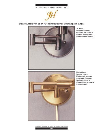 "Please Specify Pin up or ""J"" Mount on any of the swing ... - JH Lighting"