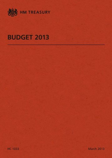 Budget 2013 HC 1033 - HM Treasury