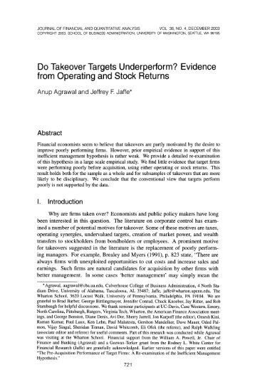 Do Takeover Targets Underperform? Evidence from Operating and ...