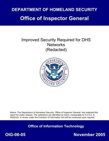 : - Office of Inspector General - Homeland Security