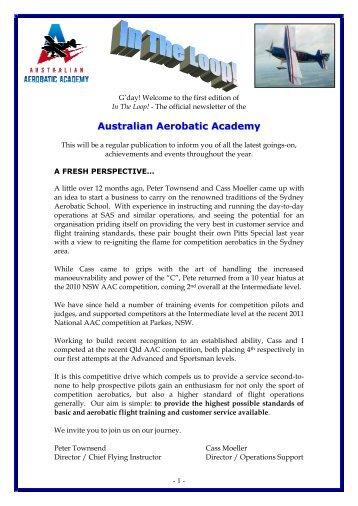 Edition 1, July 2011. - Australian Aerobatic Academy