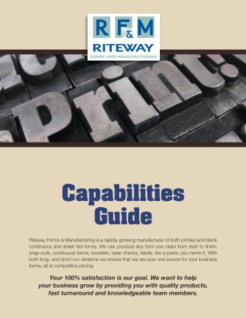 Capabilities Guide - RiteWay Forms & Manufacturing