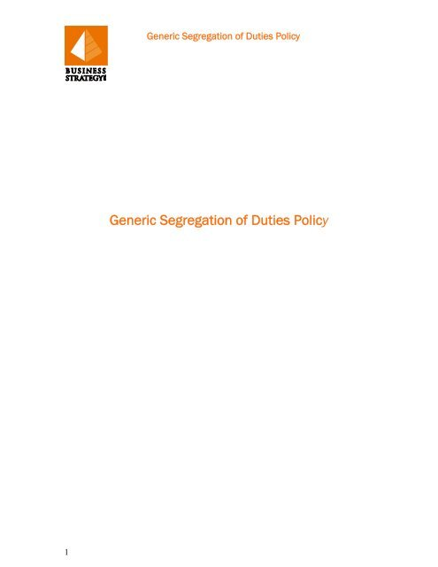 Segregation Of Duties Policy