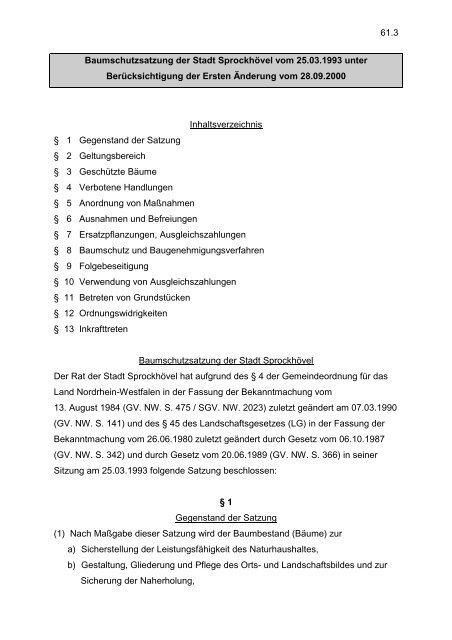 61.3 Baumschutzsatzung der Stadt Sprockhövel vom 25.03.1993 ...