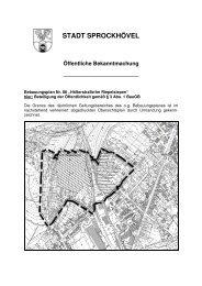 Bekanntmachung Bebauungsplan Nr. 86 - Sprockhövel