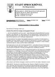 zugeordneter Pressetext - Sprockhövel