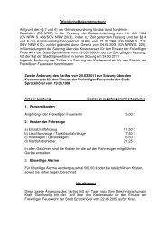 Zweite Änderung des Tarifes über den Kostenersatz für - Sprockhövel