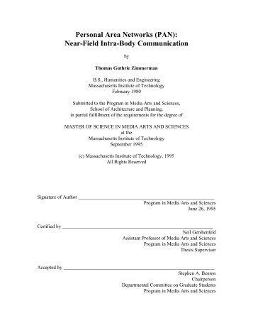 Personal Area Networks (PAN): Near-Field Intra-Body Communication