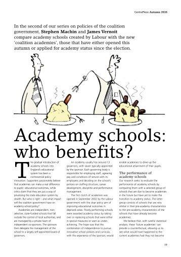 Academy schools - The Centre for Economic Performance